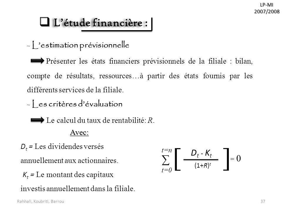 [ L'étude financière : ∑ Dt - Kt L'estimation prévisionnelle